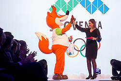 Mascot and Anja Hlaca Ferjancic at Official presentation of the Designer wear for Slovenian Athletes at PyeongChang Winter Olympic Games 2018, on December 19, 2017 in Grand Hotel Union, Ljubljana, Slovenia. Photo by Urban Urbanc / Sportida