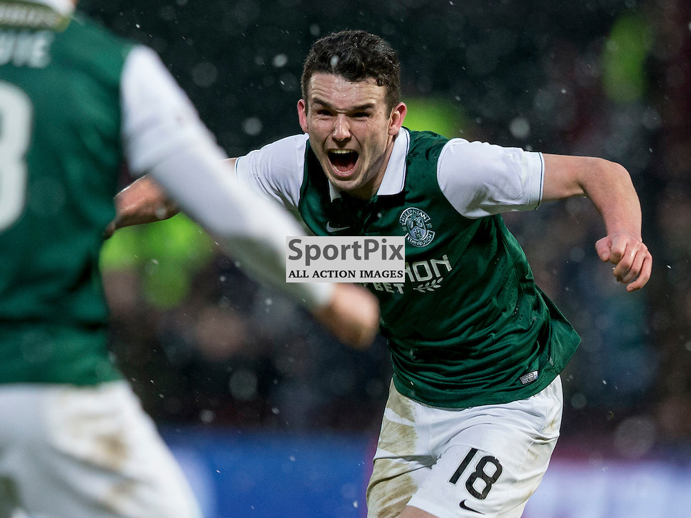 Hibernian v St Johnstone Scottish League Cup semi-final 2015-2016  <br /> <br /> John McGinn (Hibernian) celebrates winning goal during the Hibernian v St Johnstone, Scottish League Cup semi-final at Tynecastle Stadium on Saturday 30 January 2016.<br /> Picture: Alan Rennie