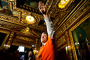 Wisconsin State Rep. Brett Hulsey takes over Governor Scott Walker's press conference after his departure to denounce his tactics at the State Capitol in Madison, Wisconsin, February 23, 2011.