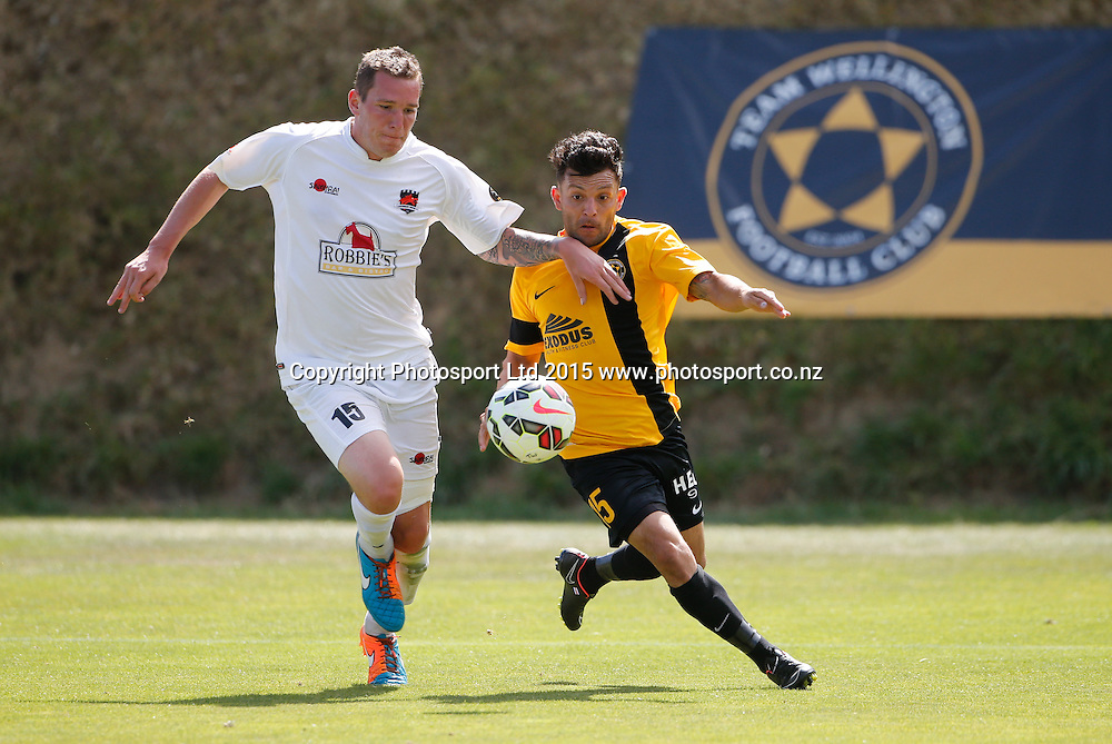 Wellington's Luis Corrales and Dan Schwarz compete for the ball. ASB Premiership Football - Wellington v Canterbury, 08 February 2015, , Wellington, New Zealand. Photo: John Cowpland / www.photosport.co.nz