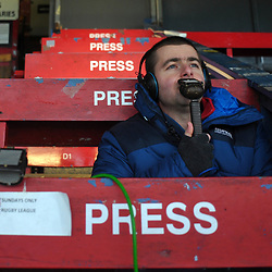 TELFORD COPYRIGHT MIKE SHERIDAN BBC Commentator Steven Humbles at Bootham Crescent during the Vanarama Conference North fixture between AFC Telford United and York City at Bootham Crescent on Saturday, January 11, 2020.<br /> <br /> Picture credit: Mike Sheridan/Ultrapress<br /> <br /> MS201920-040