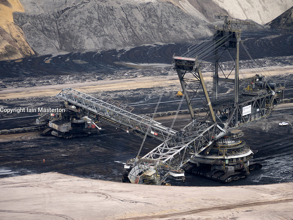 Large excavating machines working at Garzweiler open cast coal mine in Germany