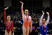 Woman's podium (L-R) Victoria Nguyen of the United States of America (USA) Silver Medal,  Tabea Alt of Germany (GER) Gold Medal, Amy Tinkler of Great Britain (GBR) Bonze Medal during the iPro Sport World Cup of Gymnastics 2017 at the O2 Arena, London, United Kingdom on 8 April 2017. Photo by Martin Cole.