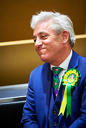 © Licensed to London News Pictures. 09/06/2017. Aylesbury, UK.  Speaker John Bercow reacts after being announced as the winner of the Buckingham constituency in the 2017 general election. Nearly 2,000 votes were spoiled or otherwise invalid reflecting growing anger over the continued disenfranchisement of the area.  Photo credit: Cliff Hide/LNP