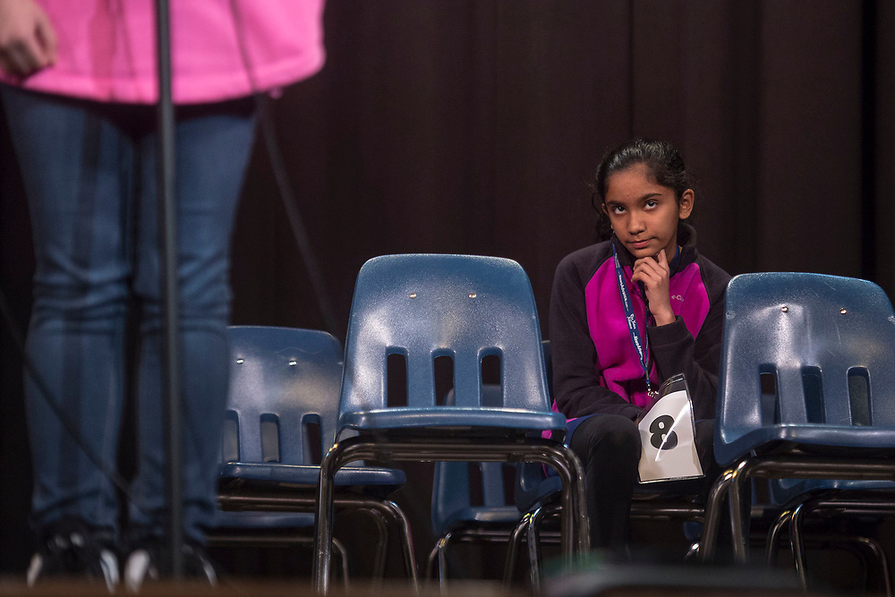 LYNCHBURG, VA - MAR 18: Mikitha Prabhu of James River Day School waits her turn during the Lynchburg Spelling Bee at Dunbar Middle School on Saturday,  Mar. 18, 2017 in Lynchburg, Va. (Photo by Jay Westcott/The News & Advance)