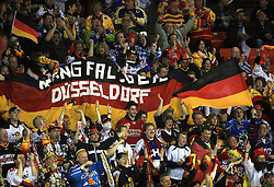 German Fans at ice-hockey match Germany (played in old replika jerseys from year 1946) vs Slovakia at Preliminary Round (group C) of IIHF WC 2008 in Halifax, on May 05, 2008 in Metro Center, Halifax, Nova Scotia, Canada. Germany won 4:2. (Photo by Vid Ponikvar / Sportal Images)