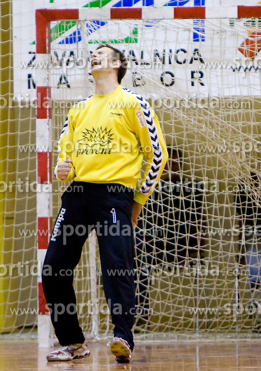 Goalkeeper of Prevent Domen Oslovnik at the handball match between RD Ribnica Riko-hise and RK Prevent of MIK 1st League 2009 - 2010,  on October 04, 2009, in Ribnica, Slovenia.   (Photo by Vid Ponikvar / Sportida)