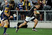 Wes Goosen of Wellington makes a break during the Mitre 10 Competition match between Otago and Wellington at Forsyth Barr Stadium on August 25, 2016 in Dunedin, New Zealand. Credit: Joe Allison / www.Photosport.nz