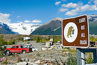 Bear warning sign at the end of the McCarthy road, Wrangell-St. Elias National Park Alaska