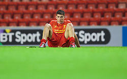 ANFIELD, ENGLAND - Friday, May 2, 2014: Liverpool's Rafael Paez Cardona looks dejected as his side lose 1-0 to Manchester United during the Under 21 FA Premier League Semi-Final match at Anfield. (Pic by David Rawcliffe/Propaganda)