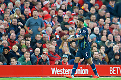 LIVERPOOL, ENGLAND - Sunday, October 7, 2018: Manchester City's Raheem Sterling walks off dejected as he is substituted during the FA Premier League match between Liverpool FC and Manchester City FC at Anfield. (Pic by David Rawcliffe/Propaganda)