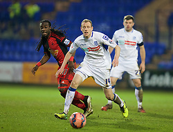 BIRKENHEAD, ENGLAND - Saturday, January 3, 2015: Tranmere Rovers' Marc Laird in action against Swansea City during the FA Cup 3rd Round match at Prenton Park. (Pic by David Rawcliffe/Propaganda)