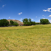 This is a 180 degree panorama of the Canyon of the Ancient Ranch in Colorado.