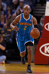 Mar 28, 2012; Oakland, CA, USA;  New Orleans Hornets point guard Jarrett Jack (2) dribbles against the Golden State Warriors during the first quarter at Oracle Arena. Mandatory Credit: Jason O. Watson-US PRESSWIRE