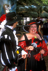 Stock photo of a man and woman in costume at the Texas Renaissance Festival in Plantersville Texas