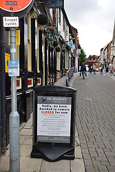 Easing of Coronavirus lockdown on 4 July 2020 in Norwich, UK. Pubs, restaurants, hairdressers etc are finally allowed to open, with social distancing. However, many pubs decided not to open