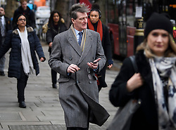 © Licensed to London News Pictures. 12/03/2019. London, UK. Conservative MP DOMINIC GRIEVE is seen in Westminster on the day MPs are due to hold a vote on Theresa May's Brexit deal. Parliament is expected to reject the Prime Ministers deal, with suggestions that there could be attempts to remove the PM if there is any delay to Brexit. Photo credit: Ben Cawthra/LNP