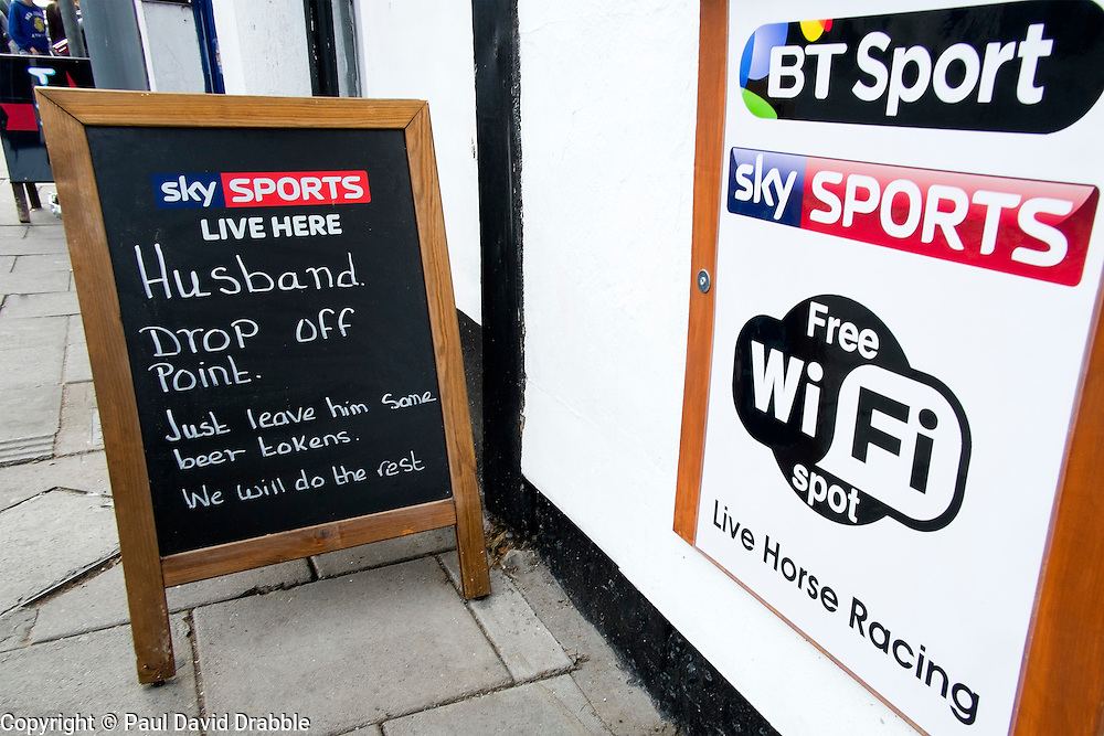 Amusing &quot;Husband Drop Off Point&quot; Sign on the street outside the 'Book in Hand' Pub at Mablethorpe<br />  04 October 2015<br />  Image &copy; Paul David Drabble <br />  www.pauldaviddrabble.co.uk
