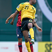 Jamaica Attacker Luton Shelton #21 heads the ball in the first half. The United State would go on to to defeat Jamaica 2-0 in the concacaf gold cup quarterfinals Sunday, June 19, 2011 at  RFK Stadium in Washington DC.