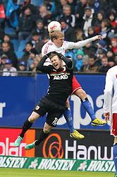 16.03.2013, Imtech Arena, Hamburg, GER, 1. FBL, Hamburger SV vs FC Augsburg, 26. Runde, im Bild Kopfballduell zwischen hinten Artjoms RUDNEVS #10 (Hamburger SV) und Daniel BAIER #10 (FC Augsburg) // during the German Bundesliga 26th round match between Hamburger SV and FC Augsburg at the Imtech Arena, Hamburg, Germany on 2013/03/16. EXPA Pictures © 2013, PhotoCredit: EXPA/ Eibner/ Kolbert..***** ATTENTION - OUT OF GER *****