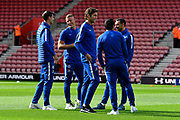 Alvaro Morata (29) of Chelsea, Ross Barkley (8) of Chelsea, Marcos Alonso (3) of Chelsea, Pedro (11) of Chelsea and Davide Zappacosta (21) of Chelsea on the pitch on arrival to St Mary's Stadium before the Premier League match between Southampton and Chelsea at the St Mary's Stadium, Southampton, England on 7 October 2018.