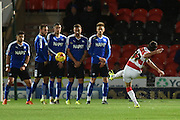 Filipe Mattioni of Doncaster Rovers takes free kick towards goal during the Sky Bet League 1 match between Doncaster Rovers and Chesterfield at the Keepmoat Stadium, Doncaster, England on 24 November 2015. Photo by Ian Lyall.