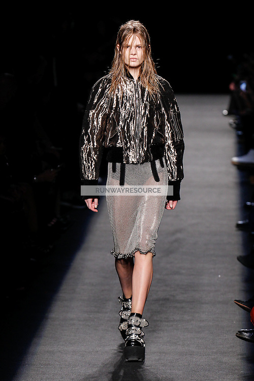 Anna Ewers (WOMEN) walks the runway wearing Alexander Wang Fall 2015 during Mercedes-Benz Fashion Week in New York on February 14, 2015