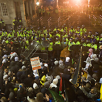 London Jan 3 In London there were clashes outside the Israeli Embassy between protesters and police wearing riot gear..Police made several arrests, claiming protesters made repeated attempts to break through the barriers and throw missiles outside the embassy in south Kensington.