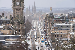 Edinburgh, Scotland, United Kingdom, 1 March, 2018. Heavy snowfalls continue across the city from the storm known as The Beast from the East. Most shops are closed and transport services have been cancelled. Pictured. Princes Street very quiet as bus services are cancelled..