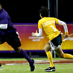 Jan 31, 2013; New Orleans, LA, USA; NFC Kordell Stewart intercepts a pass from AFC squad Susie Castillo during the Tazon Latino VII flag football game at Clinic Field  inside the Ernest Morial Convention center. Super Bowl XLVII will take place between the San Francisco 49ers and the Baltimore Ravens on February 3, 2013 at the Mercedes-Benz Superdome.  Mandatory Credit: Derick E. Hingle-USA TODAY Sports