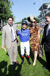 Left to right, DOUGRAY SCOTT, FRANKIE DETTORI, CLAIRE FORLANI and RAYMOND VAN NIEKERK Global Head of Marketing at Investec at the Investec Ladies Day at Epsom Racecourse, Surrey on 4th June 2010.