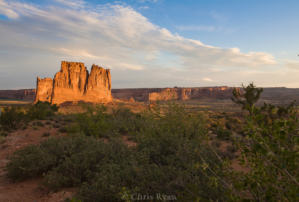 Buttes lit by sunrise at Arches National Park, Utah