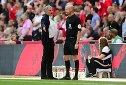 Manchester United manager Jose Mourinho confronts the 4th official after his sides goal is disallowed. - Mandatory by-line: Alex James/JMP - 19/05/2018 - FOOTBALL - Wembley Stadium - London, England - Chelsea v Manchester United - Emirates FA Cup Final
