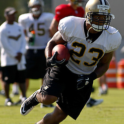 July 31, 2011; Metairie, LA, USA; New Orleans Saints running back Pierre Thomas (23) during training camp practice at the New Orleans Saints practice facility. Mandatory Credit: Derick E. Hingle