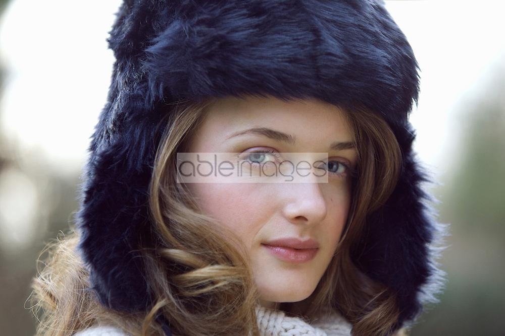 Teenage Girl Wearing Fur Hat