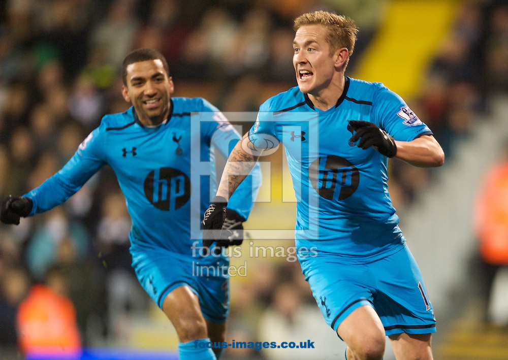 Picture by Alan Stanford/Focus Images Ltd +44 7915 056117<br /> 04/12/2013<br /> Lewis Holtby of Tottenham Hotspur celebrates his goal and the teams second during the Barclays Premier League match at Craven Cottage, London.