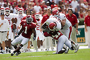 Arkansas Razorbacks running back Felix Jones gets tackled by Alabama Crimson Tide defensive back Roman Harper during a 24 to 13 loss to the Tide on September 24, 2005 at Bryant-Denny Stadium in Tuscaloosa, Alabama..Mandatory Credit: Wesley Hitt/Icon SMI