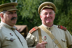 Soviets from the Red Army's  13th Guards Rifle Division at Crowle & Ealand 1940's weekend at 7 Lakes Country Park on Sunday<br />