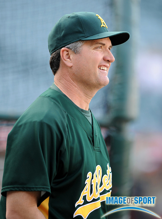 Apr 30, 2007; Anaheim, CA, USA; Oakland Athletics manager Bob Geren (17) watches batting practice before game against the Los Angeles Angels at Angel Stadium. Mandatory Credit: Kirby Lee/Image of Sport-US PRESSWIRE