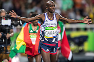 Mo Farah of Great Britain takes Gold to retain his title in the Men's 10,000m on day eight of the XXXI 2016 Olympic Summer Games in Rio de Janeiro, Brazil.<br /> Picture by EXPA Pictures/Focus Images Ltd 07814482222<br /> 13/08/2016<br /> *** UK & IRELAND ONLY ***<br /> <br /> EXPA-GRO-160814-5313.jpg