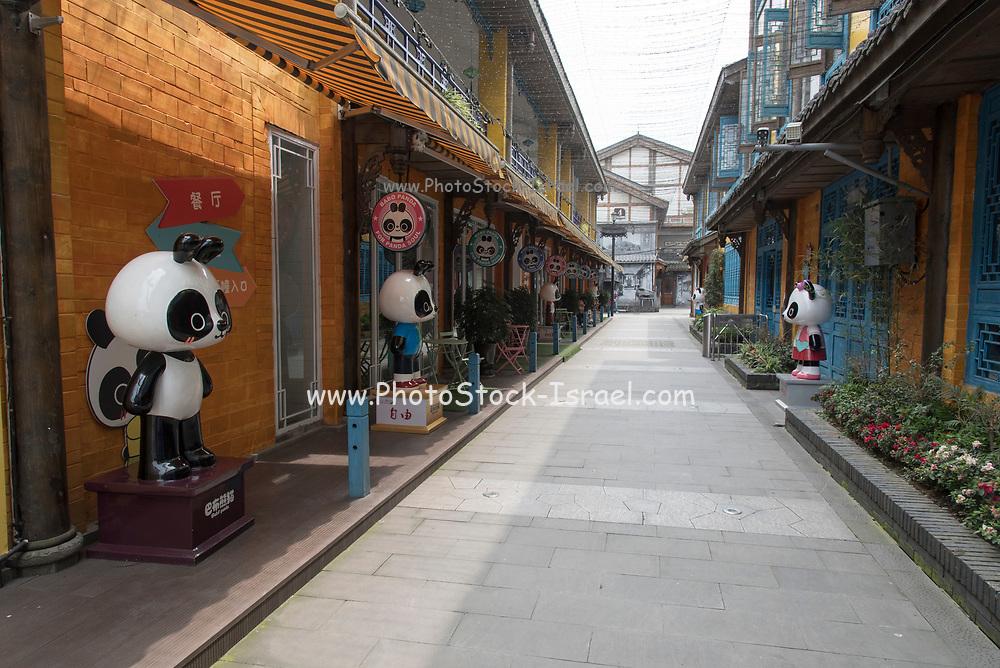 Panda Creativity street in Dujiangyan city, Sichuan Province, China