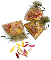 Bags of petals on white background