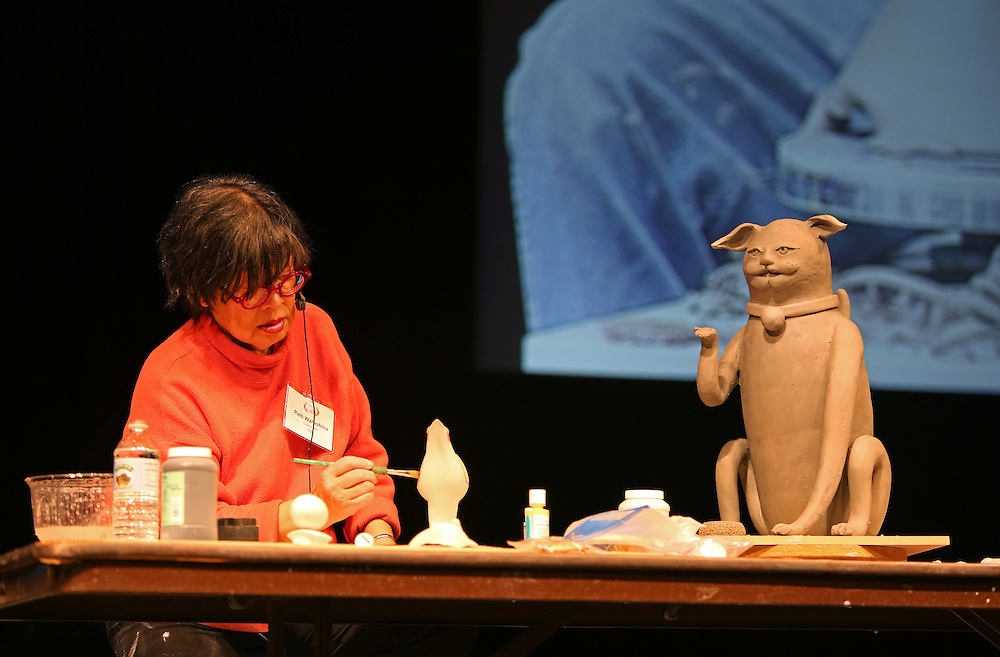 Patti Warashina demonstrates at Alabama Clay Conference 2015.