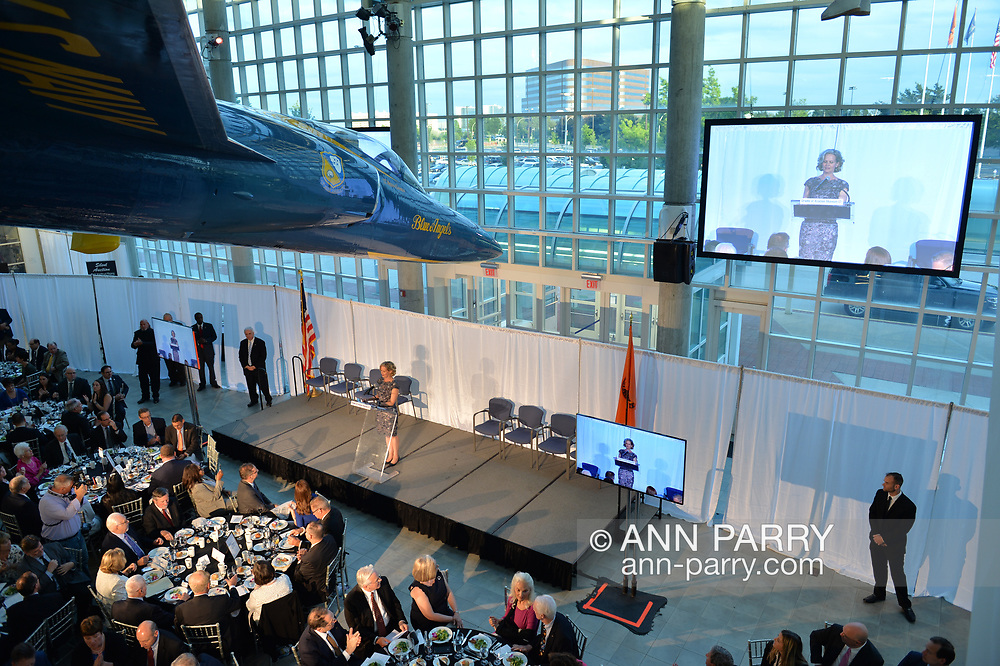 Garden City, New York, U.S. June 6, 2019. Nassau County Executive LAURA CURRAN is on stage at lecturn, as seen from second level of atrium of CAM, during Apollo at 50 Anniversary Dinner, an Apollo astronaut tribute celebrating the Apollo 11 mission Moon landing.