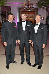 Left to right, VINAYAK BHATTACHARJEE, DIEGO BIASI and DAVID MANDIYA at the QBF Spring Gala in aid of the Red Cross War Memorial Children's Hospital hosted by Heather Kerzner and Jeanette Calliva at Claridge's, Brook Street, London on 12th May 2015.