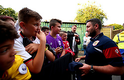 Bristol City head coach Lee Johnson meets fans at Vicarage Road ahead of his side's Carabao Cup Match against Watford - Mandatory by-line: Robbie Stephenson/JMP - 22/08/2017 - FOOTBALL - Vicarage Road - Watford, England - Watford v Bristol City - Carabao Cup