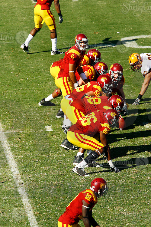 11 October 2008: Quarterback #6 Mark Sanchez at the line of scrimmage elevated view during the NCAA Pac-10 USC Trojans 28-0 shut-out win over the Arizona State University Sun Devils during a day college football game at the Los Angeles Memorial Coliseum in Southern California.