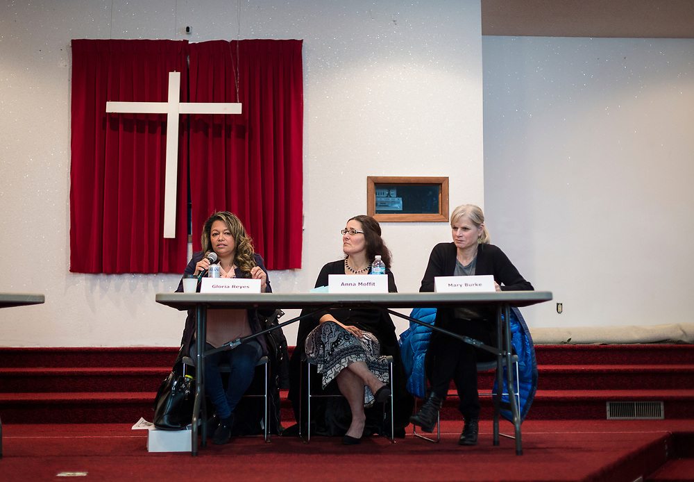 Gloria Reyes, Anna Moffit, and Mary Burke, left to right, present their positions during the South Side Madison Madison School Board public forum hosted by Mount Zion Baptist Church in Madison, Wisconsin, Tuesday, March 6, 2018.