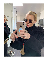 """Kate Hudson releases a photo on Instagram with the following caption: """"Sunday sweater crush \ud83d\udda4 @rachelzoe"""". Photo Credit: Instagram *** No USA Distribution *** For Editorial Use Only *** Not to be Published in Books or Photo Books ***  Please note: Fees charged by the agency are for the agency's services only, and do not, nor are they intended to, convey to the user any ownership of Copyright or License in the material. The agency does not claim any ownership including but not limited to Copyright or License in the attached material. By publishing this material you expressly agree to indemnify and to hold the agency and its directors, shareholders and employees harmless from any loss, claims, damages, demands, expenses (including legal fees), or any causes of action or allegation against the agency arising out of or connected in any way with publication of the material."""