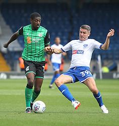 Hakeeb Adelakun of Scunthorpe United (L) and Ryan Lowe of Bury in action - Mandatory by-line: Jack Phillips/JMP - 02/09/2017 - FOOTBALL - Gigg Lane - Bury, England - Bury v Scunthorpe United - English Football League One